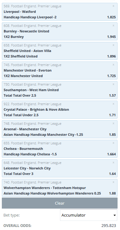 English Premier League acca
