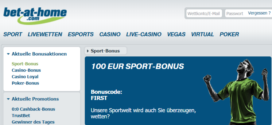 bet at home sport bonus