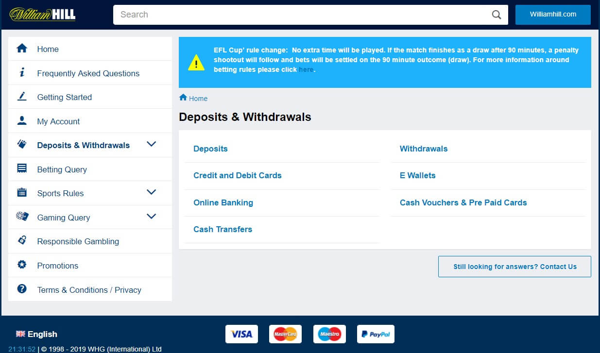 How to withdraw from William Hill?