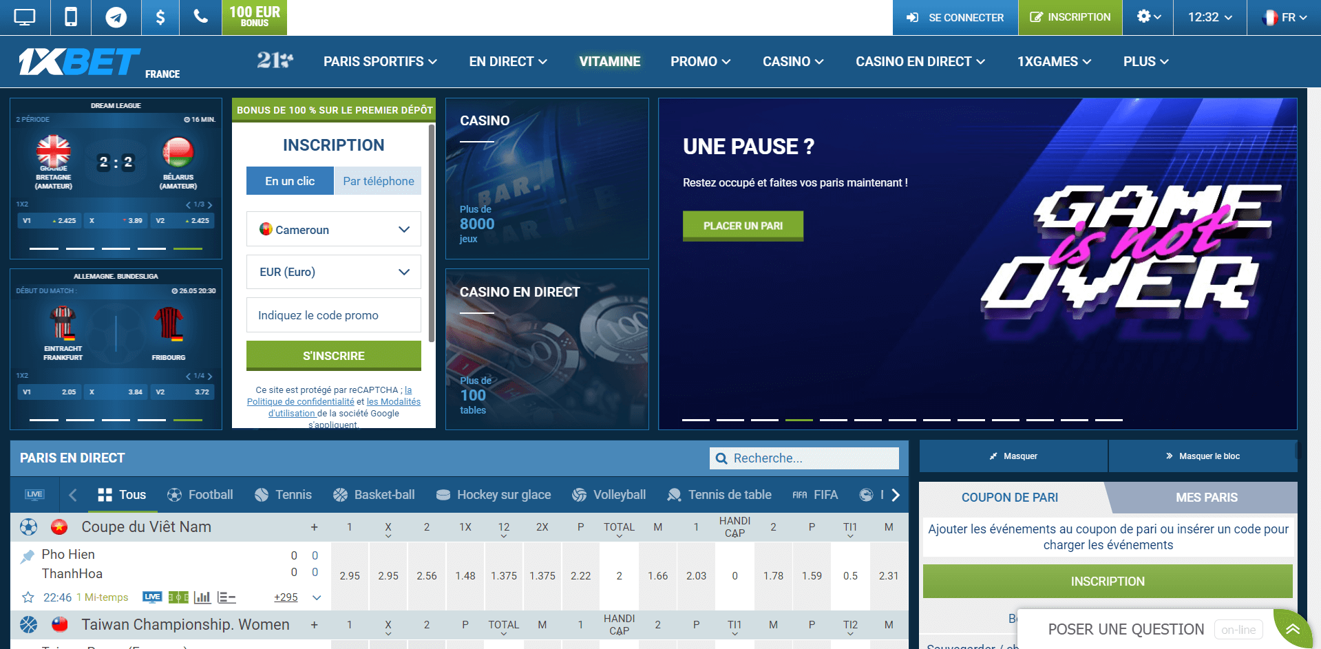 1xbet france inscription